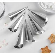 Набор форм для выпечки круассанов и трубочек конусообразные мини, 6 шт.