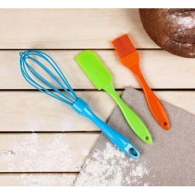 Набор силиконовых инструментов: венчик, кисточка, лопатка