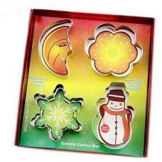 "Набор вырубок для теста ""Новогодний"", 4 предмета (месяц, цветок сливы, снежинка, снеговик)"