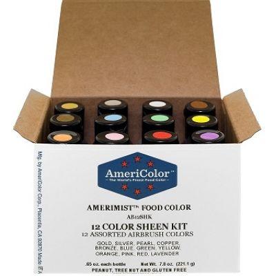 Набор перламутровых гелевых красителей AmeriColor Sheen Airbrush, 12 цветов