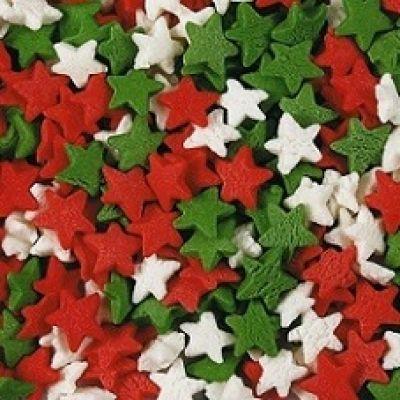 Посыпка Звезды красные, белые, зеленые (50гр.)