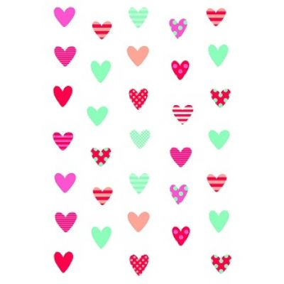 """Бумага для переноса рисунка на безе """"Сердечки"""" (цветные)"""