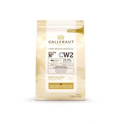 Белый шоколад 25,9% Callebaut в галетах, 2,5 кг.