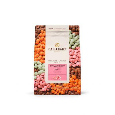 Розовый шоколад со вкусом клубники Callebaut в галетах, 200 гр.