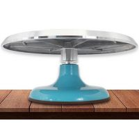 Вращающаяся металлическая подставка для торта поворотный столик, голубой (с незначительным дефектом)