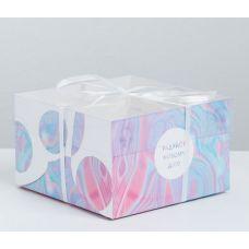 """Коробка для 4 капкейков """"Радуйся новому дню"""", 16*16*10 см."""