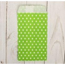 """Пакетик для сладостей """"Горошек"""", зеленый, 8*15 см., 5 шт."""