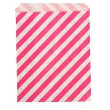 """Пакетик для сладостей """"Полоска"""", розовый, 13*18 см., 5 шт."""