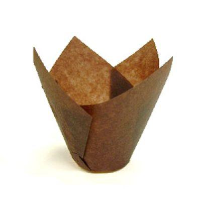 Бумажная капсула Тюльпан коричневая для капкейков и маффинов, 10 шт.