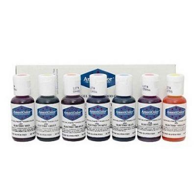 Набор гелевых красителей AmeriColor Electric kit (электрик), 7 цветов.