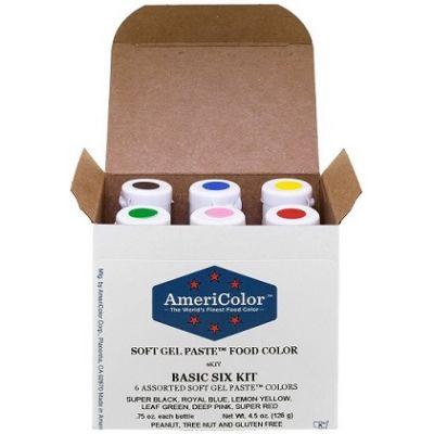 Набор гелевых красителей AmeriColor Basic six kit (базовый), 6 цветов