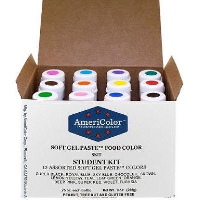Набор гелевых красителей AmeriColor Student kit (студент), 12 цветов.