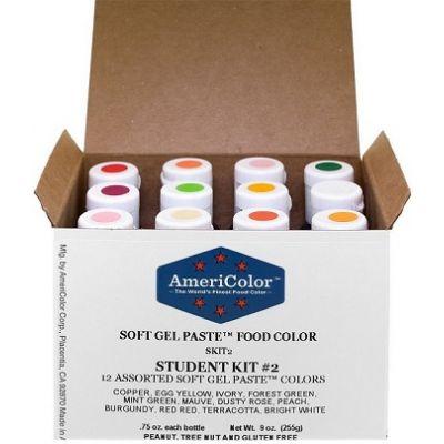 Набор гелевых красителей AmeriColor Student kit 2 (студент 2), 12 цветов.