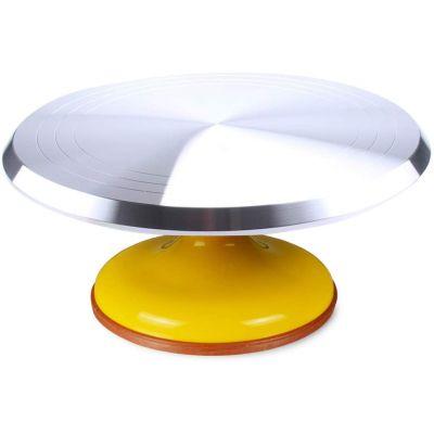 Вращающаяся металлическая подставка для торта поворотный столик, желтый