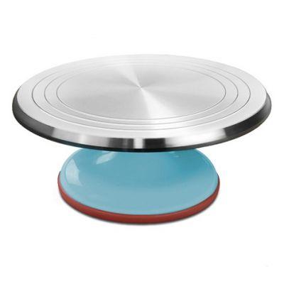 Вращающаяся металлическая подставка для торта поворотный столик, светло-голубой