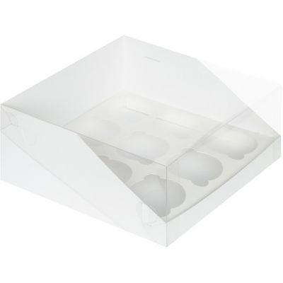 Коробка для 9 капкейков белая с пластиковой крышкой