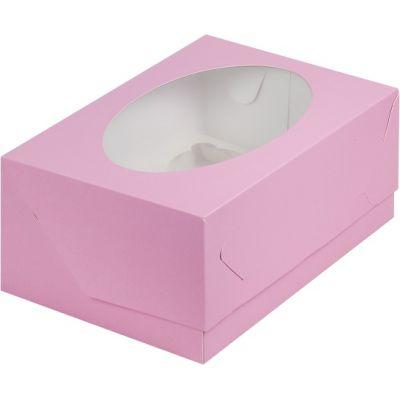 Коробка для 6 капкейков розовая с окном