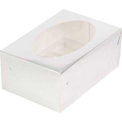 Коробка для 6 капкейков серебро с окном