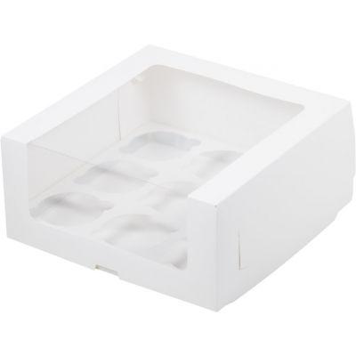 Коробка для 9 капкейков белая с увеличенным окном
