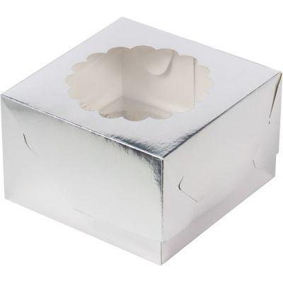 Коробка для 4 капкейков серебро с окном