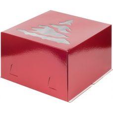 Коробка для торта 30*30*19, Елка (красная)