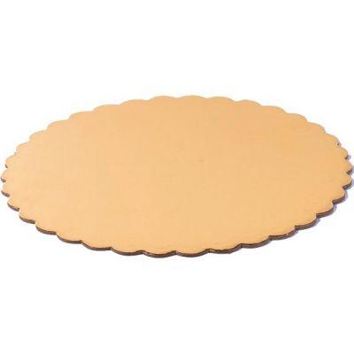 Подложка для торта фигурная золото/жемчуг, толщ.=3,2 мм., d=30 см.