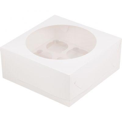 Коробка для 9 капкейков белая с окном