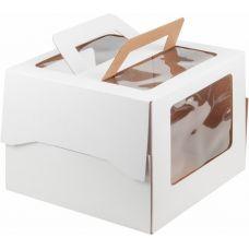 Коробка для торта 30*30*22 с ручками и окном, белая