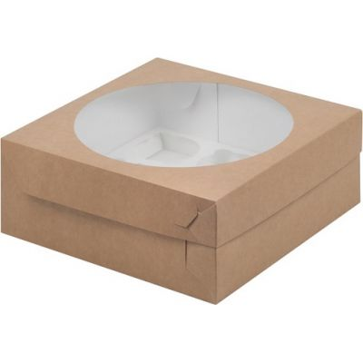 Коробка для 9 капкейков крафт с окном