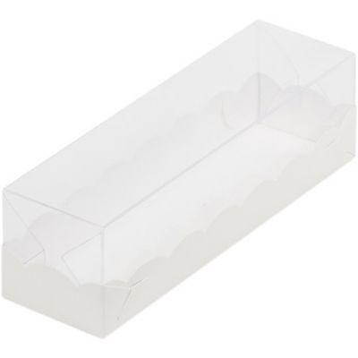 Коробка для макаронс белая с пластиковой крышкой, 19*5,5*5,5 см.