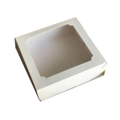 Коробка для кондитерских изделий белая, 20*20*7 см.