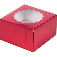Коробка для 4 капкейков вишневая с окном