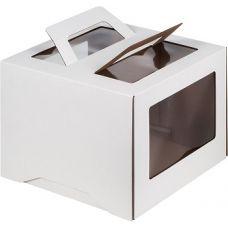 Коробка для торта 24*24*24 с ручками и окном, белая