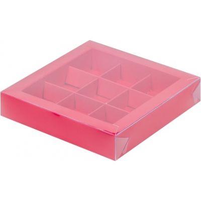 Коробка для конфет красная с окном, 15,5*15,5*3 см