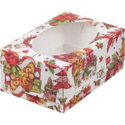 Коробка для 6 капкейков Новогодняя