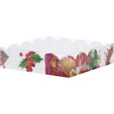 Коробка для кондитерских изделий Новогодняя, 15,5*15,5*3,5 см.