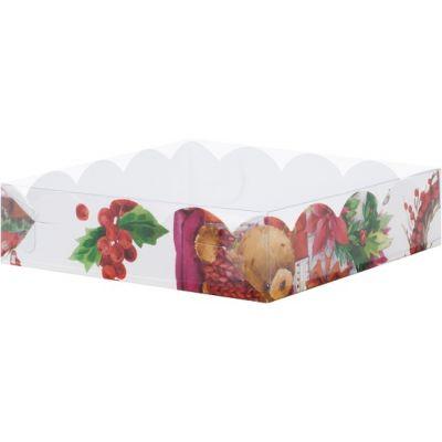 Коробка для кондитерских изделий Новогодняя, 20*20*3,5 см.