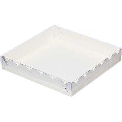Коробка для кондитерских изделий белая, 15,5*15,5*3,5 см.