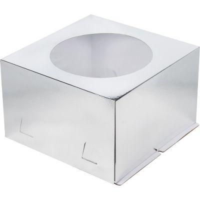 Коробка для торта 26*26*18, серебро