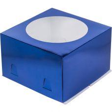 Коробка для торта 28*28*18 с окном, синяя