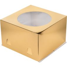 Коробка для торта 28*28*18 с окном, золотая