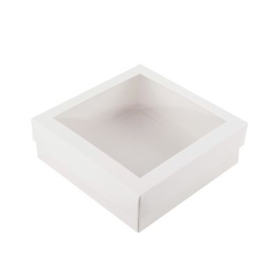Коробка для зефира с окном белая 15*15*5 см.