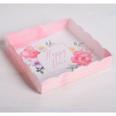 Коробка для кондитерских изделий Happy time, 15*15*3 см.