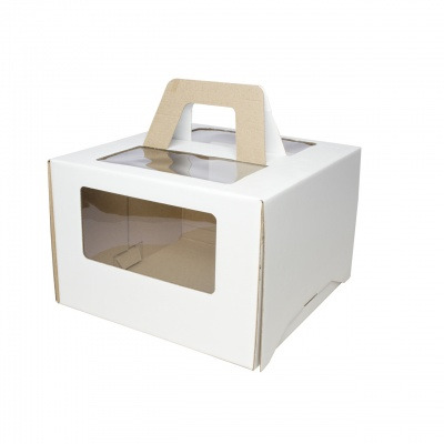 Коробка для торта 28*28*20 с ручками и окном, белая