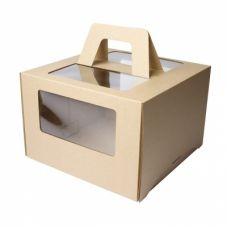 Коробка для торта 4 окна с ручками 28*28*20 (крафт)