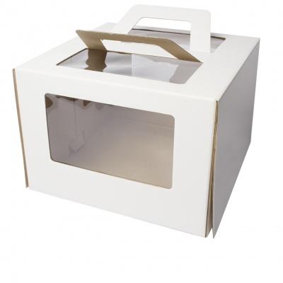 Коробка для торта 4 окна с ручками 36*36*24 (белая)