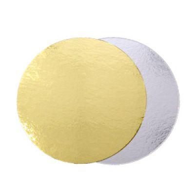 Подложка для торта золото/серебро, толщ.=0,8 мм., d=28 см.