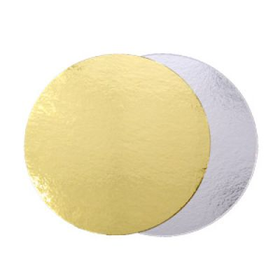 Двусторонняя  подложка  для торта золото/серебро, диаметр 26 см.