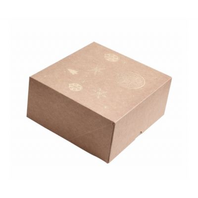 Коробка для 4 капкейков, пряников и других сладостей Новогодняя крафт с золотом