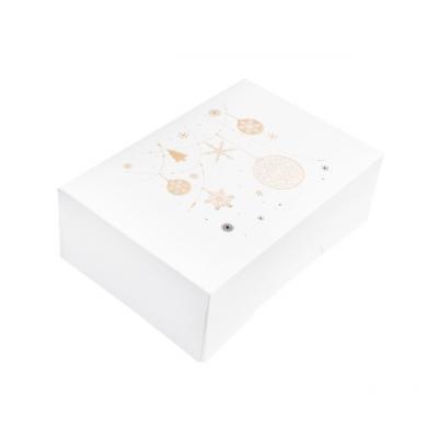 Коробка для 6 капкейков новогодняя белая с золотом